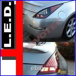 Black LED Tail Lights For 03 04 05 Nissan 350z Z33 Fairlady Plug & Play 1 Pair