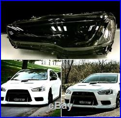Black Led Headlight Full Smoked Taillight For Mitsibishi Lancer Evo Audi Style