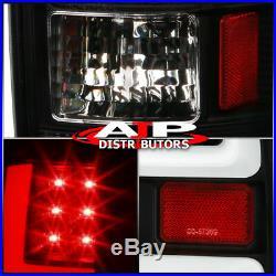 Black Led Tail Lights White Tube For 2007-2008 Dodge Ram 1500 07-09 2500 3500