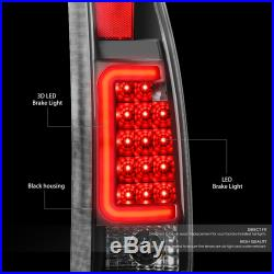 Black Lens Red 3d Led Tail Brake Lights For 88-00 Chevy/gmc C/k 1500/2500/3500