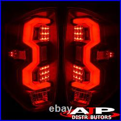 Black Red LED Tube Tail Lights Brake Lamps Set Pair For 2014-2021 Toyota Tundra