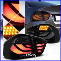 Black/Smoke Tron LED Bar Tail Light Brake Lamp for 05-08 E90/E91 3-Series 4Dr