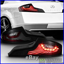 Black Smoked For 03 04 05 G35 35GT Coupe LED Tail Lights Brake Lamps Left+Right
