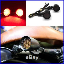 Bobber Cafe Motorcycle LED Black Bullet Red Brake Running Turn Signal Tail Light