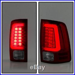 Brightest Red V2 NEW 2009-2017 Dodge Ram 1500 Pickup LED Tube Tail Lights Lamps