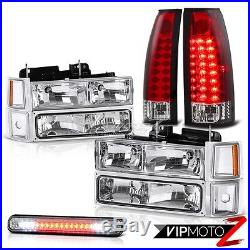 CHEVY 94-98 Silverado CK 1500 2500 Truck Clear Headlamps LED Red Tail Light Lamp