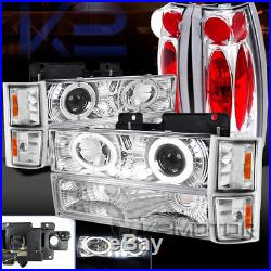 Chrome Chevy Tahoe Suburban Halo LED Projector Headlight+Corner Bumper+Tail Lamp