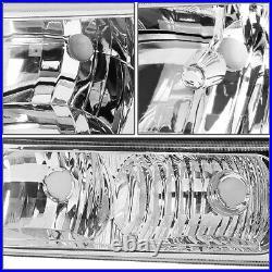Chrome Headlight+clear Bumper+red Led Brake/tail Light For 03-07 Chevy Silverado