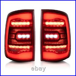 Customized Red Clear Full LED Tail Lights For 10-18 Dodge Ram 1500 Ram 2500 3500