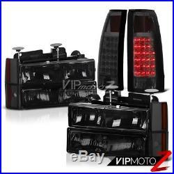 DARK SMOKE 1988-1993 Chevy C/K C1500 C2500 C3500 LED Tail Light Headlights SET