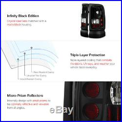 Dodge Ram 94-01 Dark Smoke Halo Projector Head Lamps+Black LED Tail Brake Lights