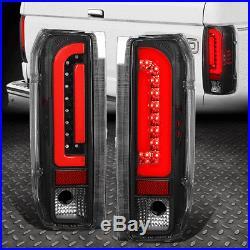 Dual Led Red C-shapefor 90-97 Ford F150 F250 F350 Tail Light Brake Lamp Black