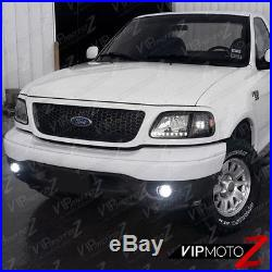 FORD 1997-2003 F150 Black 4PC Corner Head Lights Lamps with BRIGHT LED SMD Bulbs