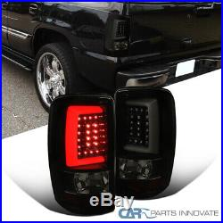 Fit 00-06 Suburban Tahoe Yukon XL Glossy Black LED Light Bar Smoke Tail Lights