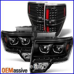 Fit 09-14 Ford F150 SMD LED Halo Projector Black Headlight+LED Tail Lights Lamps