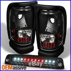 Fit 1994-2001 Dodge Ram 1500 2500 3500 Black Tail Lights + LED 3rd Brake Light