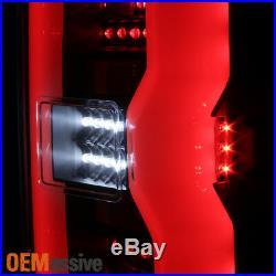 Fit 2014-2019 Chevy Silverado GMC Sierra LED Light Bar Tail Lights Black Smoked