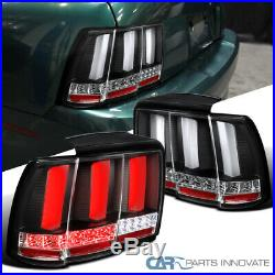 Fit 99-04 Ford Mustang Black LED Sequential Turn Signal Tail Lights Brake Lamps