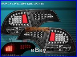 Fit For 2006-2011 HONDA CIVIC 4D SEDAN LED TAIL LIGHTS BLACK 4DR REAR BRAKE LAMP