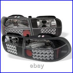 Fit Honda 92-95 Civic 2/4Dr Black LED Tail Brake Lights DX EX LX Coupe Sedan