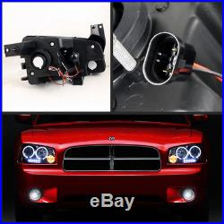 Fits 06-08 Dodge Charger Smoke Halo Projector Headlights + LED Tail Lights