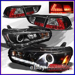Fits 08-14 Lancer Evo X Halo DRL Strip Projector Headlights+BLK LED Tail Lights