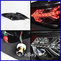 Fits 10-12 Genesis 2 Door Halo DRL Projector BLK Headlights+BLK LED Tail Lights