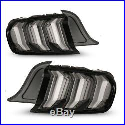 Fits 15-20 Ford Mustang Black Clear PAIR LED Sequential Turn Signal Tail Lights