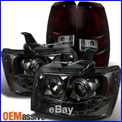 Fits 2007-2013 Chevy Avalanche Halo LED Smoked Headlights+Dark Red Tail Lights
