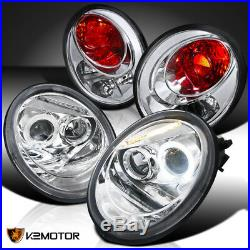 Fits 98-05 VW Beetle Halo Projector Headlights Chrome+Tail Brake Lamps