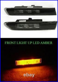 Fits Acura Tl 2004-2008 Led Front Side Marker Light Lamp Jdm Smoked Black Pair