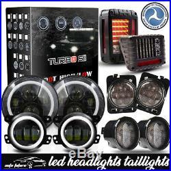 Fits Jeep Wrangler JK LED Halo Headlights Fog Turn Fender Tail Lights Combo Kit