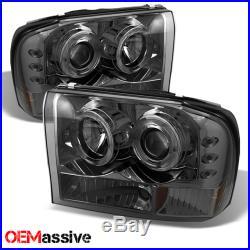 Fits Smoke 99-04 F250 F350 Halo Projector LED Headlights+Black Smoke Tail Lights