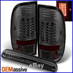 Fits Smoked 08-16 F250/F350/F450 Superduty LED Tail Lights + 3rd Brake Light