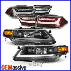 For 04-08 Acura TSX LED Light Tube DRL Projector Headlights + Tail Light Black