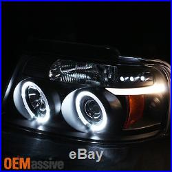 For 04-08 Ford F150 Black Halo Projector LED Headlights + Full LED Tail Lights
