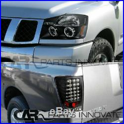 For 04-15 Nissan Titan Black Halo LED Projector Headlights+LED Tail Brake Lamps