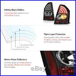 For 05-07 Chrysler SRT8 300C LED Black Tail Light Brake Signal Lamp Pair LH RH