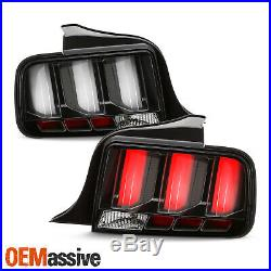 For 05-09 Ford Mustang LED White Tube Black Tail Lights with Sequential Signal