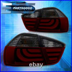 For 06-08 BMW 3 Series E90 4dr Error Free Red Smoke Tube LED Tail Lights Lamps