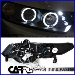 For 06-11 Honda Civic 2Dr Coupe Black Halo LED Projector Headlights+Tail Lamp