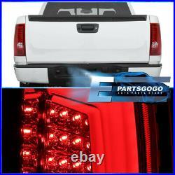 For 07-13 GMC Sierra 1500 2500HD 3500HD LED Brake Tail Lights Lamps Pair Red Len