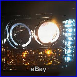 For 07-13 Sierra Smoked Halo Projector Headlights + Black Smoked LED Tail Lights