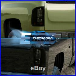 For 07-13 Silverado Lh Rh Led Bar Smoked Tail Lights Lamp Replacement Assembly