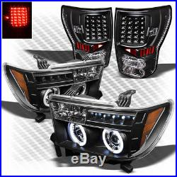 For 07-13 Tundra Black CCFL Halo Projector Headlights + LED Tail Lights