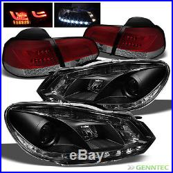 For 10-14 Golf/GTI Blk DRL Pro Headlights + R/S LED Tail Lights withLED Signal