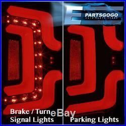 For 14-18 Chevy Silverado LED Tail Lights Brake Lamps Black Housing Smoked Lens
