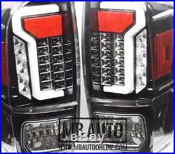 For 16 17 18 Toyota Tacoma TRD SR SR5 Fiber Optic LED Tail Lights Black Clear