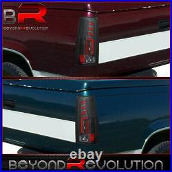 For 1988-1998 Chevy Gmc C/K C1500/K1500 Black Housing Red LED Tube Tail Lights
