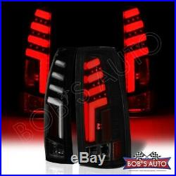 For 1988-1998 Chevy Silverado SPARTAN Black 3D Bar LED Taillights Pickup Brake